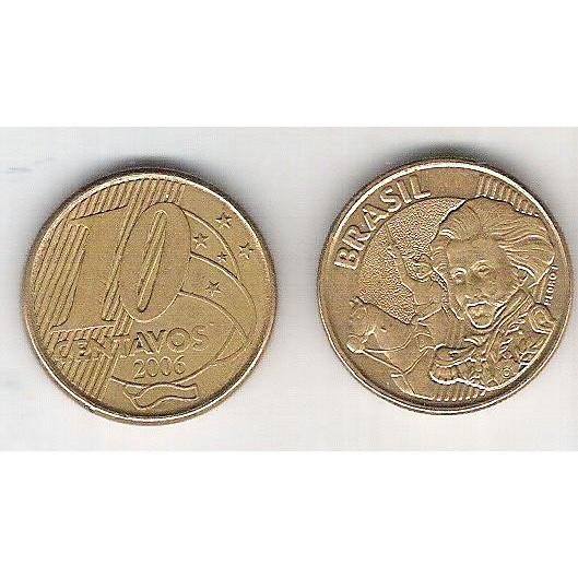 2006 - 10 Centavos, mbc, aço revestido de cobre.