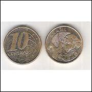 2007 - 10 Centavos, fc, aço revestido de cobre.