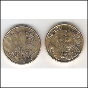 2008 - 10 Centavos, fc, aço revestido de cobre.