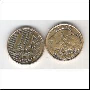 2011 - 10 Centavos, fc, aço revestido de cobre.