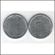 1994 - 25 Centavos, mbc-s, aço.