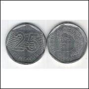 1995 - 25 Centavos, mbc-s, aço.