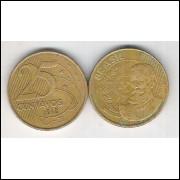 1998 - 25 Centavos, mbc, aço revestido de cobre. Marechal Deodoro da Fonseca.