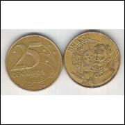 1999 - 25 Centavos, mbc, aço revestido de cobre. Marechal Deodoro da Fonseca.