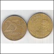 2003 - 25 Centavos, mbc, aço revestido de cobre. Marechal Deodoro da Fonseca.