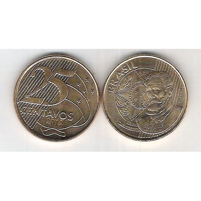 2012 - 25 Centavos, fc, aço revestido de cobre. Marechal Deodoro da Fonseca.