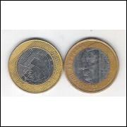 2002 - 1 Real, mbc, bimetálica (aço e aço revestido de cobre). Comemorativa - Juscelino Kubitschek.