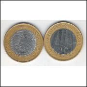 2005 - 1 Real, s, bimetálica (aço e aço revestido de cobre).Comemorativa - 40 Anos do Banco Central.