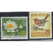 Alemanha, 1957, Fauna e Flora. Pássaro. Sem carimbo, com goma, mint. Yv. 146-147.