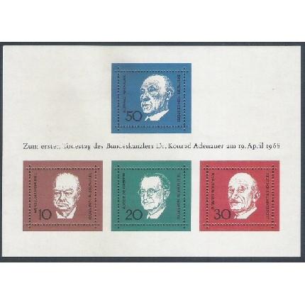 Alemanha, 1968, Personalidades. Bloco sem carimbo, com goma, mint. Yv. 3