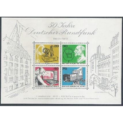 Alemanha-Berlin, 1973, 50 Anos da Radiofusão. Sem carimbo, com goma, mint. Yv. Bloco 4