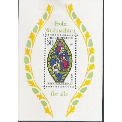 Alemanha-Berlin, 1976, Natal, vitraux. Sem carimbo, com goma, mint. Yv. Bloco 5.