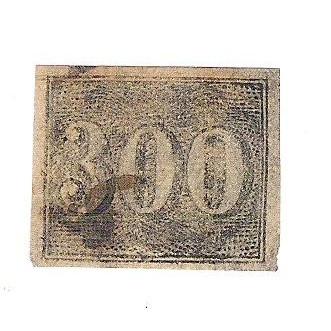 I-17 Brasil Império, 1850, 300 Réis, Olho de Cabra, Margens regulares.