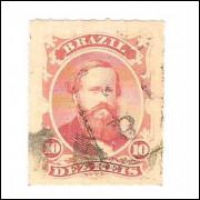 I-30 Brasil Império, 1876, 10 Réis, Dom Pedro II, percê, carimbado.