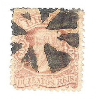 I-50 Brasil Império, 1881, 200 Réis, Dom Pedro II, Cabeça Pequena, carimbado.