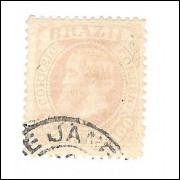 I-58 Brasil Império, 1883, 100 Réis, Dom Pedro II, fundo cruzado, carimbado.