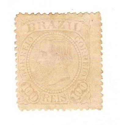 I-59 Brasil Império, 1883, 100 Réis, Dom Pedro II, fundo linhado,novo.