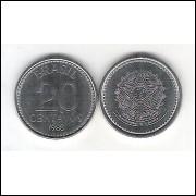 1988 - 20 Centavos, aço, fc.