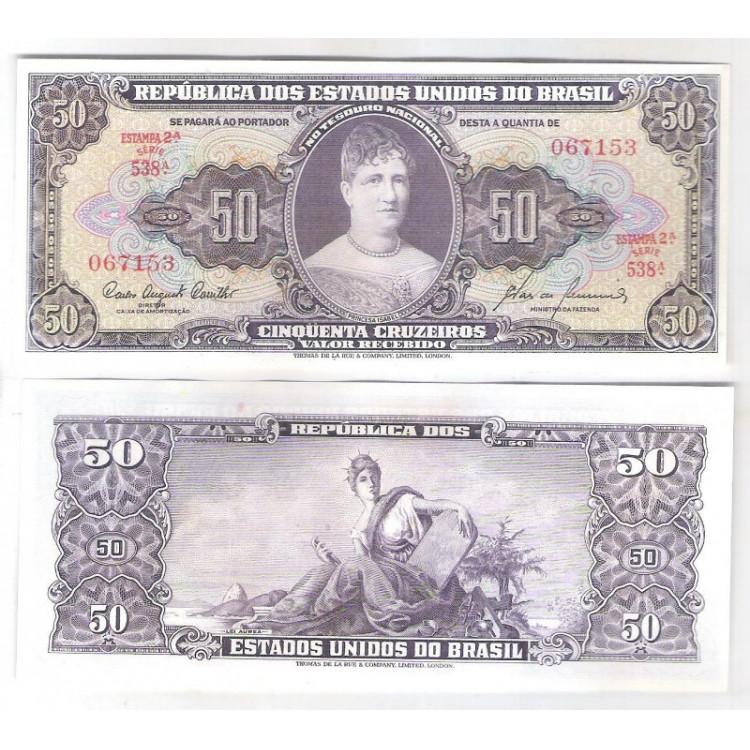 C092 - 50 Cruzeiros 1960 estampa 2a Valor Recebido, fe. Princesa Isabel.