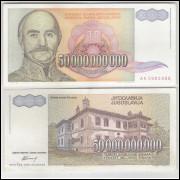 Iuguslávia - (P.136) 50000000000 Dinara, 1993, mbc-s. Personagem, Serbian Prince Milan Obrenovich