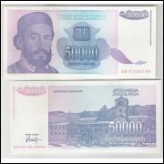 Iuguslávia - (P.130) 50000 Dinara, 1993, sob. Personagem, Petar II Petrovic Niegos