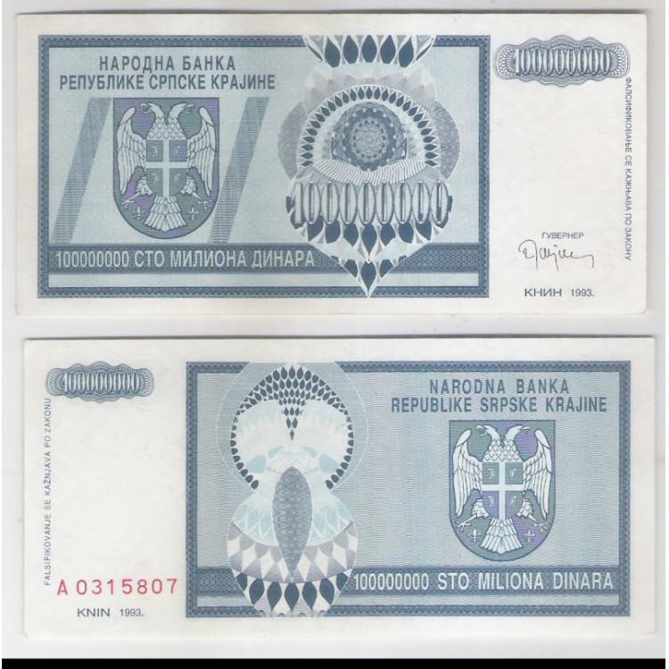 Bósnia-Herzegovina (Knin) - 100000000 Dinara (100 milhões), 1993, s-fe.