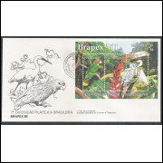 FDC-459 - 1988 - Fauna e Flora. Estação Ecológica Juréia. Aves. Brapex VII. Car.: São Paulo-SP