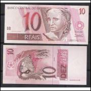 C293 - 10 Reais, BC, 1999, Pedro S. Malan e Armínio Fraga, fe. Arara.