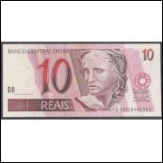 C299 - 10 Reais, EC, 2008, SÉRIE: 0001,Guido Mantega (2a chancela) e Henrique Meirelles, fe. Arara.