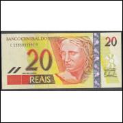 C308 - 20 Reais, CA, 2010, PRIMEIRA SÉRIE: 1595, Guido Mantega e Alexandre Tombini, fe.