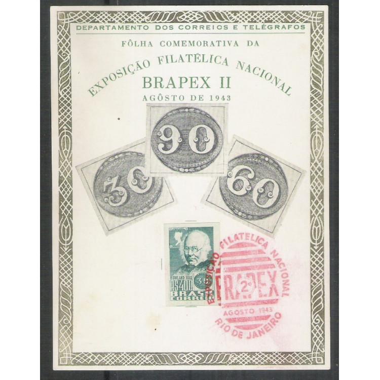 FA04A - 1943 Exposição Filatélica Nacional-Brapex II.Selo do Rowland Hill. Número INVERTIDO no verso