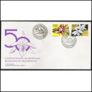 FDC-435 - 1987 - Cinquentenário da Sociedade Brasileira de Orquidófilo. Flora, orquídeas.