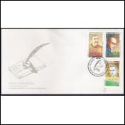 FDC-661 - 1995 - Série Literatura. Eça de Queiroz - Carlos Drummond de Andrade - Rubem Braga.