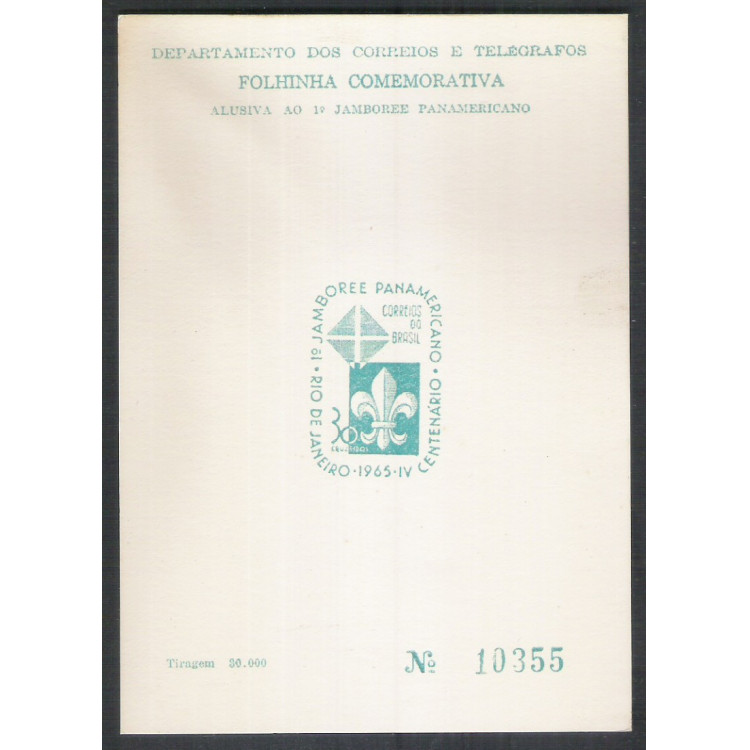 FO21 - 1965 Folhinha Comemorativa Alusiva ao 1o Jamboree Panamericano. Escotismo.