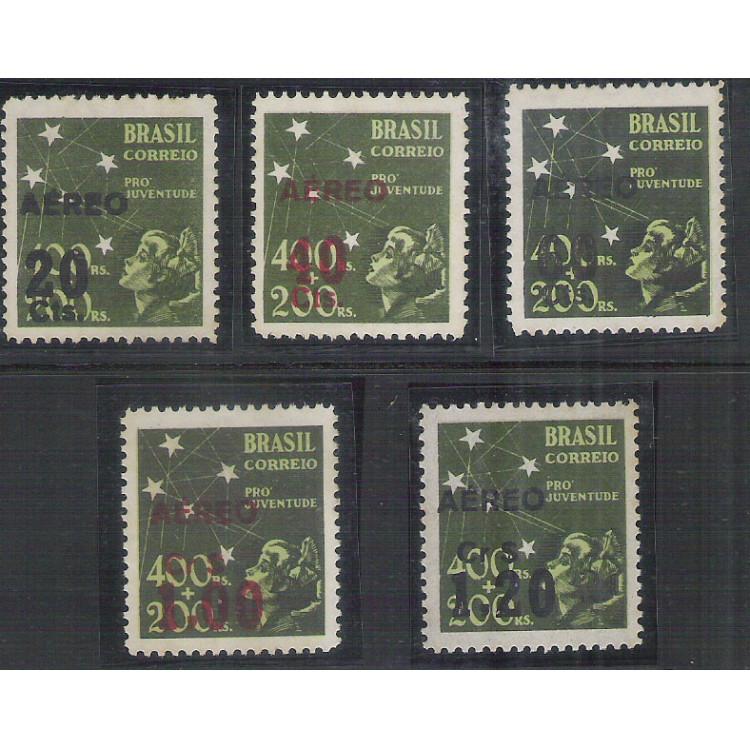 AO52B-56B - 1944 - Selos Pró-Juventude de 1940 com CORES TROCADAS da sobrecarga, série completa.