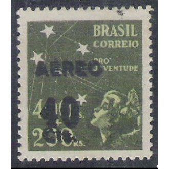 AO53D - 1944 - 40 cts sobre 400 Réis, Pró-Juventude, com SOBRECARGA DUPLA.