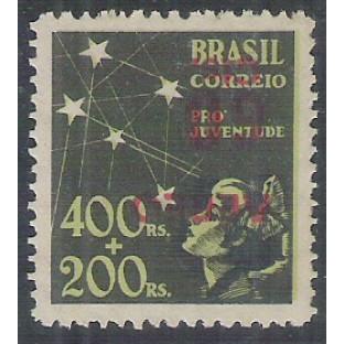 AO54C - 1944 - 60 cts sobre 400 Réis, Pró-Juventude, com SOBRECARGA INVERTIDA