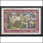 C0596A - 1968 - 20 cts Primeira Missa, IMPRESSÃO NO LADO FOSCO.