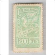 1899 - T-12 - Telégrafo, 200 Réis, novo, com goma amarelada, e charneira.