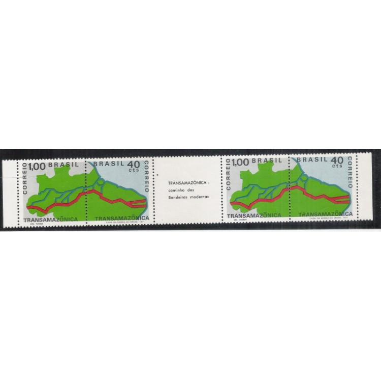 1971 - C-699-70 - Transamazônia, caminho das bandeiras modernas. tira de quatro selos.