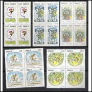 1974 - C-829-33q - Folclore - Lendas. Saci Pereê - Zumbi - Chico Rei - Negrinho - Iara. Quadras.