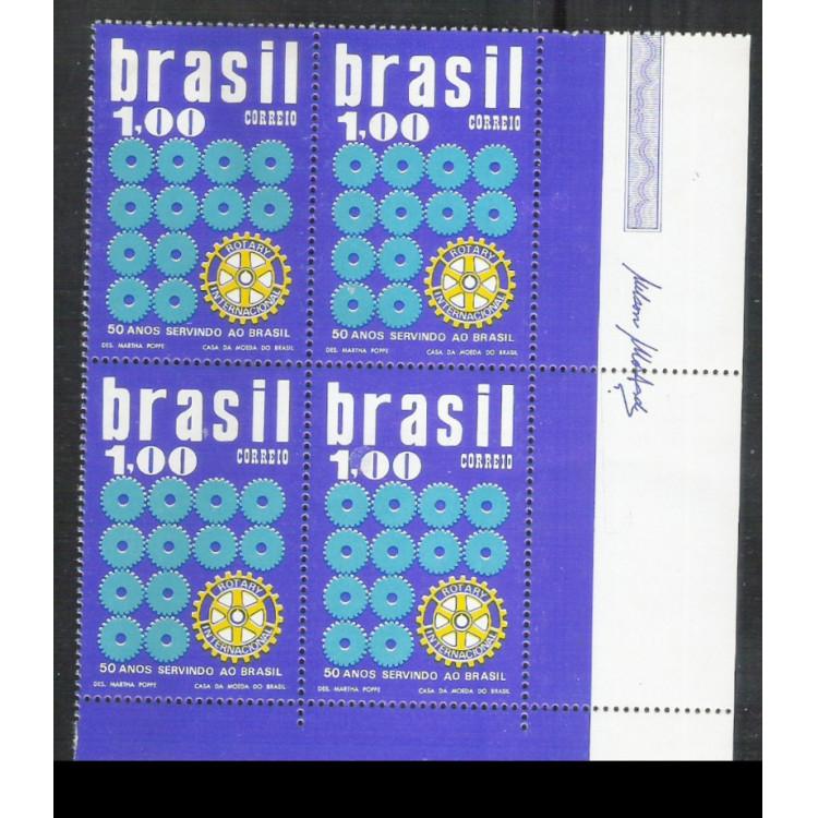 1973 - C-773q - 50 Anos do ROTARY no Brasil. Quadra canto de folha.