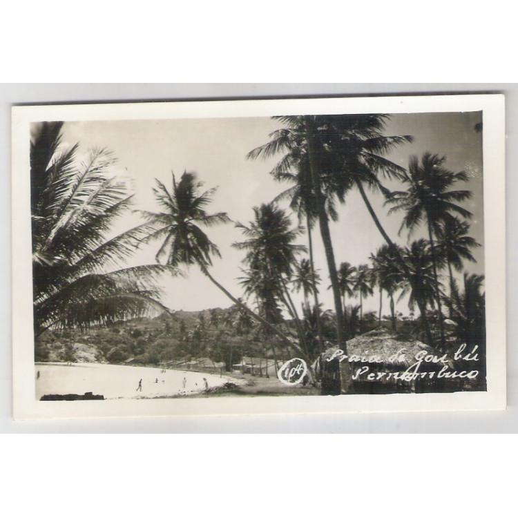 re10 - Cartão postal antigo, Praia do Goubú - Pernambuco.