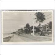 re12 - Cartão postal antigo, Rua, carros, praia - Recife ??? - Pernambuco.