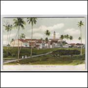 sa08 - Cartão postal antigo, circulado em 1909, com selo, Quintas da Barra, Salvador. Farol.
