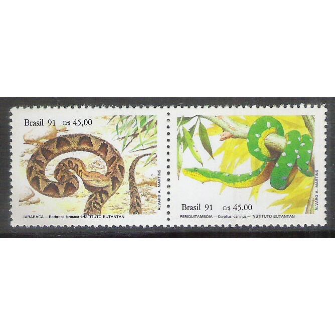 1991 - C-1737-38 - Museus Brasileiros - Instituto Butantã. Cobras. Jararaca e Periquitambóia.Fauna.