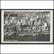 pa01 - Cartão postal antigo, Vista aérea - Porto Alegre. Barcos.  Ed. Canazaro.