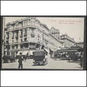 SP28 - Cartão Postal antigo No 99, Avenida São João, carros, bonde, São Paulo.