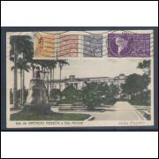 jp05 - Cartão postal antigo, circulado 1934, Estação de Epitácio Pessôa, Escola Normal. João Pessoa.