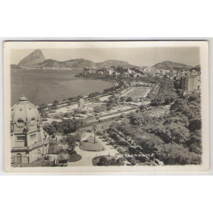 RJ38 - Cartão postal antigo, Praça Paris. Rio de Janeiro.